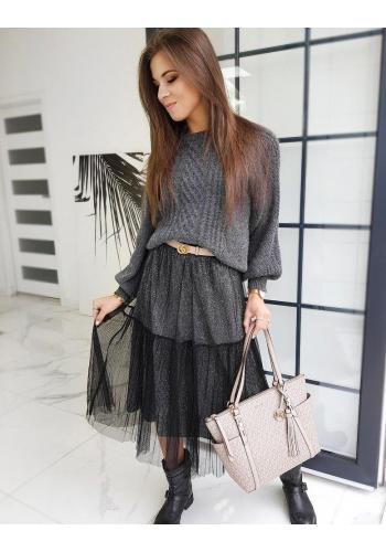 Dámská dvouvrstvá sukně s třpytkami v černé barvě