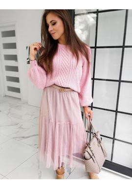 Dámský módní svetr s nafouklými rukávy v růžové barvě