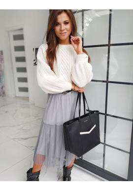 Bílý módní svetr s nafouklými rukávy pro dámy