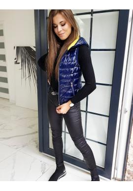 Prošívaná dámská vesta tmavě modré barvy s kapucí