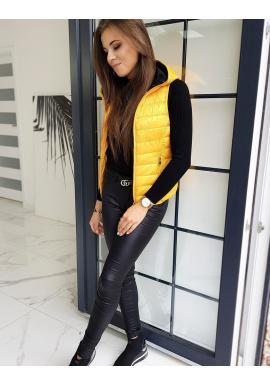 Žlutá prošívaná vesta s kapucí pro dámy