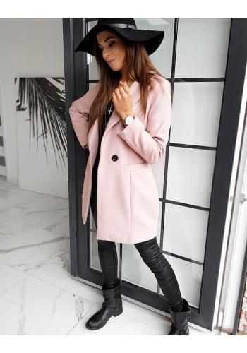 Dámský klasický kabát s knoflíkem v růžové barvě