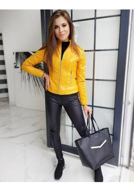 Žlutá klasická koženka s prošíváním pro dámy