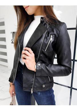 Koženková dámská bunda černé barvy