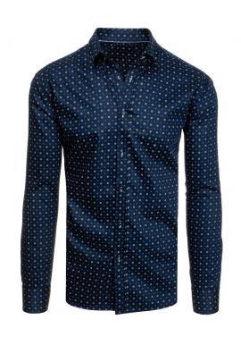 Tmavě modrá bavlněná košile se vzorem pro pány