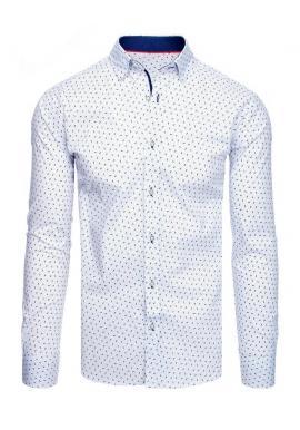 Pánské vzorované košile s dlouhým rukávem v bílé barvě