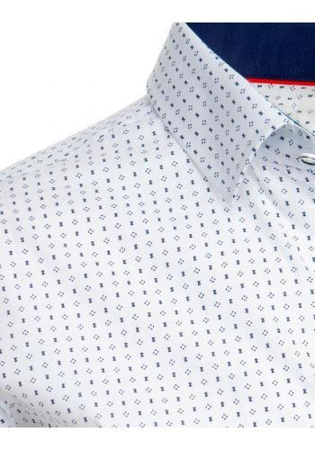 Bílá vzorovaná košile s dlouhým rukávem pro pány