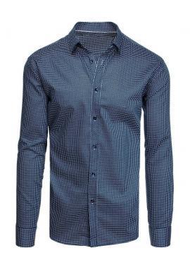 Pánské bavlněné košile se vzorem v tmavě modré barvě