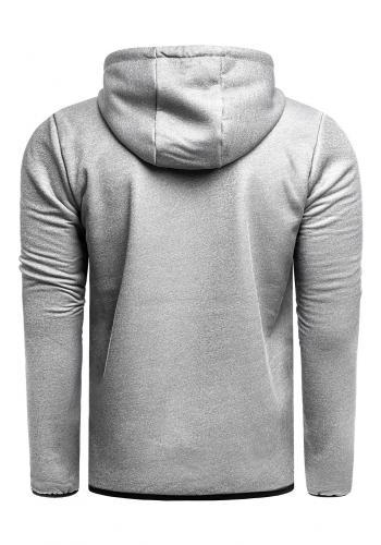 Pánská přechodná bunda s kapucí v šedé barvě
