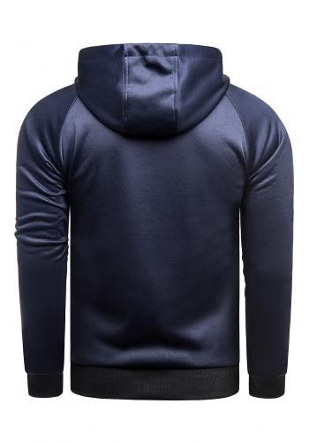 Přechodná pánská bunda tmavě modré barvy s kapucí