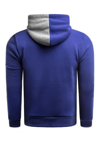 Módní pánská mikina modré barvy s kapucí a s potiskem
