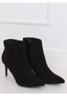 Černé semišové boty na štíhlém podpatku pro dámy