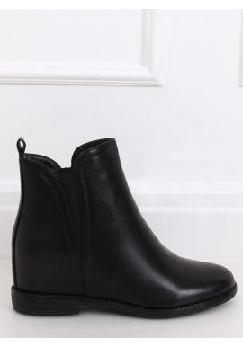 Lícové dámské boty černé barvy na skrytém podpatku