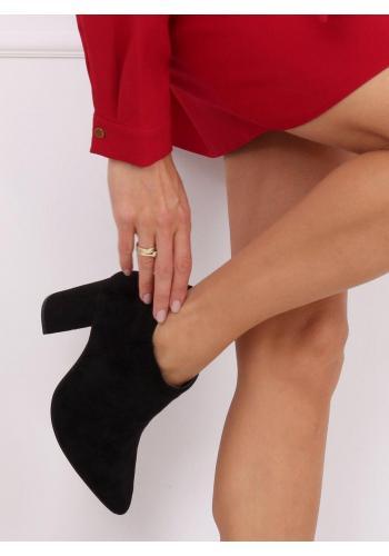 Dámské semišové polobotky na stabilním podpatku v černé barvě