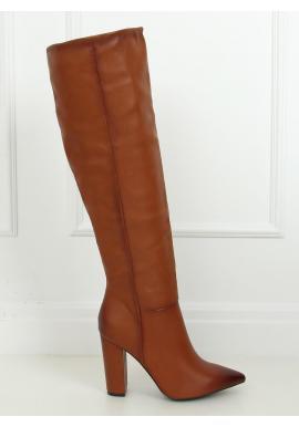 Hnědé lícové kozačky nad kolena na podpatku pro dámy