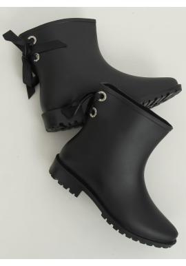 Kotníkové dámské gumáky černé barvy s mašlí