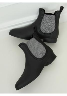 Matné dámské gumáky černé barvy se stříbrnými vložkami