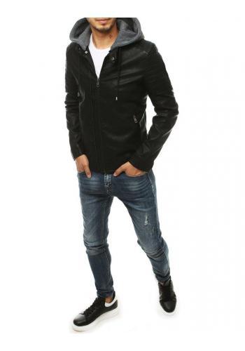 Pánská kožená bunda s teplákovou kapucí v černé barvě
