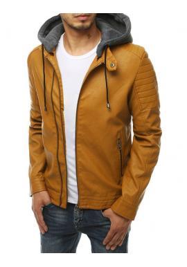 Hnědá kožená bunda s teplákovou kapucí pro pány