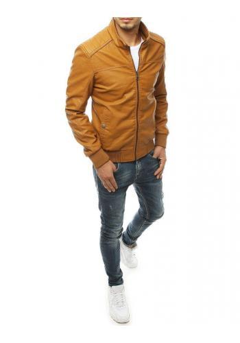Kožená pánská bunda hnědé barvy na přechodné období