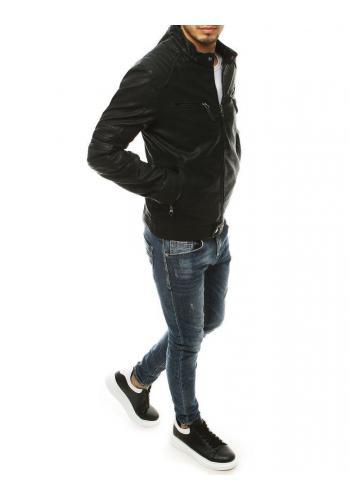 Černá kožená bunda na podzim pro pány