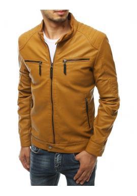 Kožená pánská bunda hnědé barvy na podzim