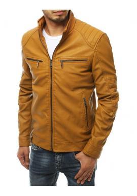 Pánská kožená bunda s prošívanými prvky v hnědé barvě