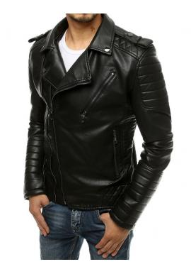 Kožená pánská bunda černé barvy s prošívanými prvky