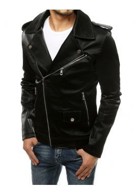 Pánská kožená bunda s asymetrickým zipem v černé barvě