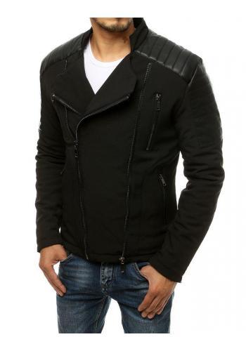 Pánská přechodná bunda s koženými vložkami v černé barvě