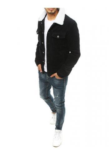 Manšestrová pánská bunda černé barvy s kožešinovým límcem
