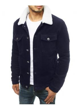 Tmavě modrá manšestrová bunda s kožešinovým límcem pro pány