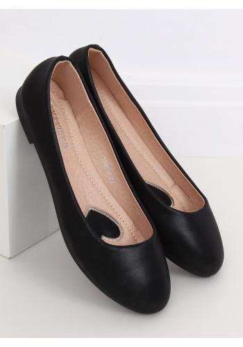Klasické dámské balerínky černé barvy s matným povrchem v akci