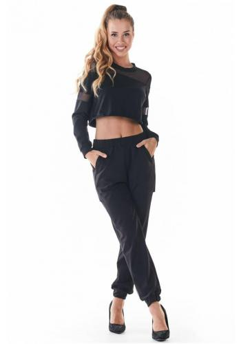 Dámské módní tepláky s černou síťkou v černé barvě
