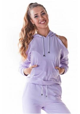 Stylová dámská mikina fialové barvy s výřezy