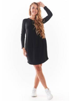 Dámské tenké šaty s dlouhým rukávem v černé barvě