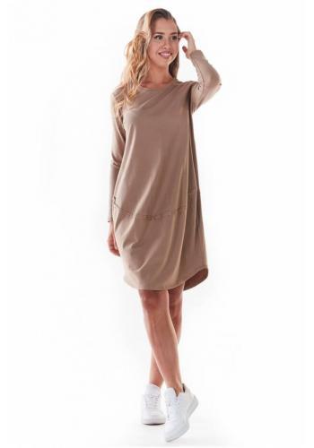 Béžové tenké šaty s dlouhým rukávem pro dámy