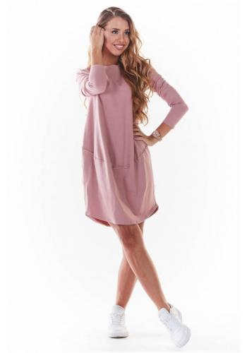 Tenké dámské šaty růžové barvy s dlouhým rukávem