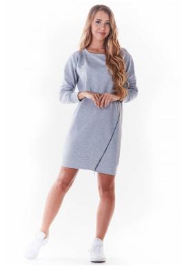 Dámské mini šaty se zipem vpředu v šedé barvě