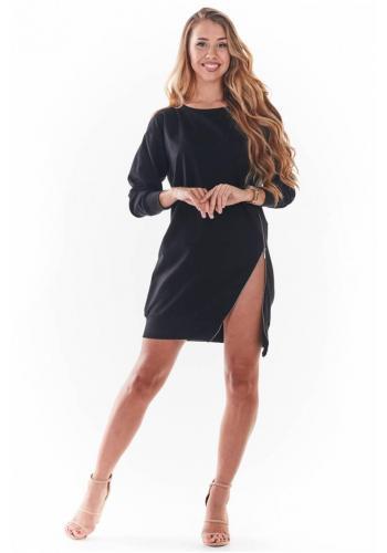 Černé mini šaty se zipem vpředu pro dámy