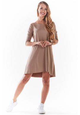 Tenké dámské šaty béžové barvy s 3/4 rukávem