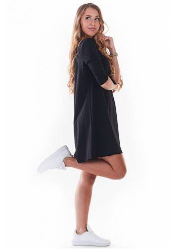 Dámské tenké šaty s 3/4 rukávem v černé barvě