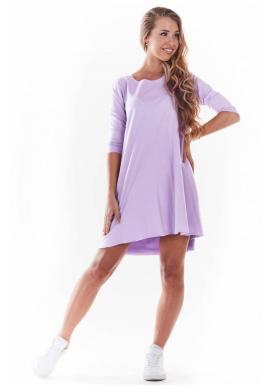 Fialové tenké šaty s 3/4 rukávem pro dámy