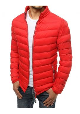 Prošívaná pánská bunda červené barvy na přechodné období