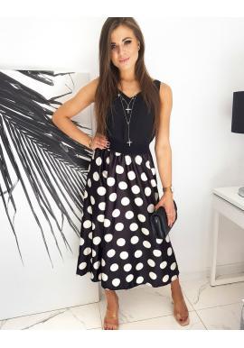 Dlouhá dámská sukně černé barvy s bílými kuličkami