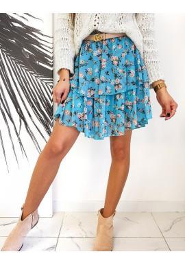 Světle modrá květovaná sukně s volány pro dámy