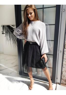 Tylová dámská sukně černé barvy