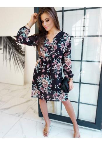 Květované dámské šaty černé barvy s dlouhým rukávem