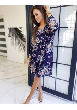 Dámské květované šaty s dlouhým rukávem v tmavě modré barvě