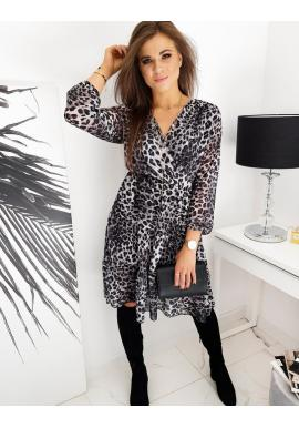 Módní dámské šaty šedé barvy s leopardím vzorem